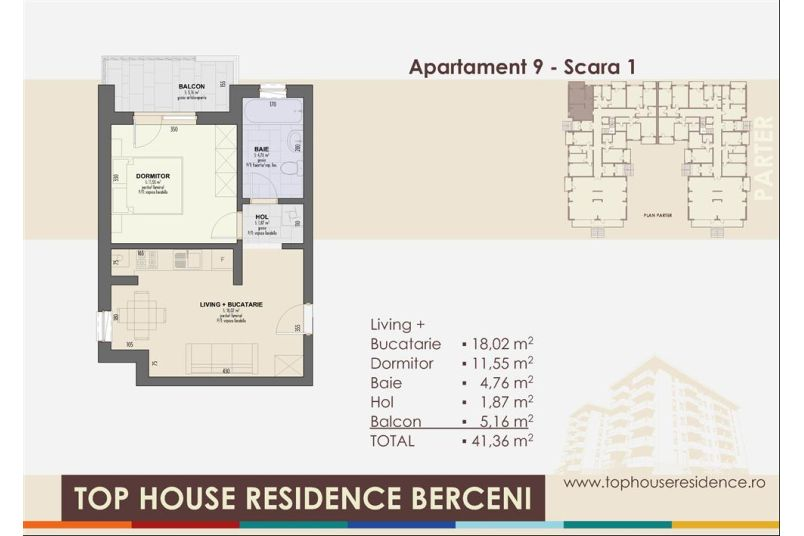 Apartamente 2 camere, 41 mp, Model 2, Top House Residence Berceni Metalurgiei