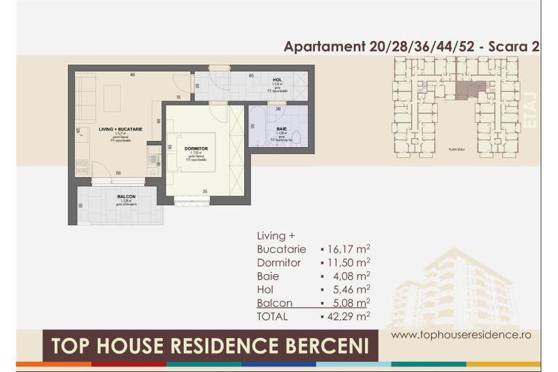 Apartamente 2 camere, 42 mp, Top House Residence Berceni Metalurgiei