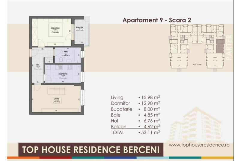 Apartamente 2 camere, 53 mp, Model 2, Top House Residence Berceni Metalurgiei