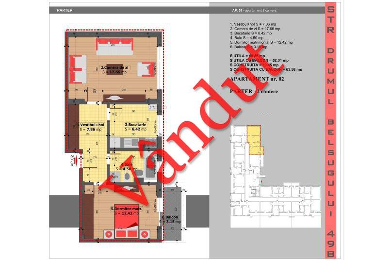 Apartamente 2 camere, 49 mp, Tip 1, Militari Belsugului Residence