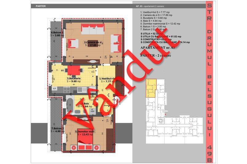 Apartamente 2 camere, 52 mp, Tip 1, Militari Belsugului Residence
