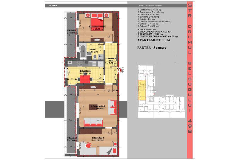 Apartamente 3 camere, 63 mp, Militari Belsugului Residence