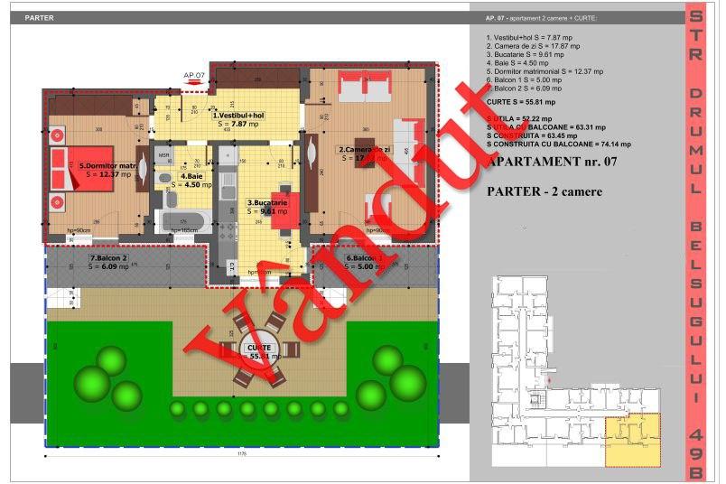 Apartamente 2 camere, 52 mp, Tip 3, Militari Belsugului Residence