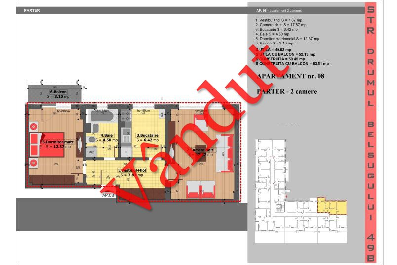 Apartamente 2 camere, 49 mp, Tip 2, Militari Belsugului Residence
