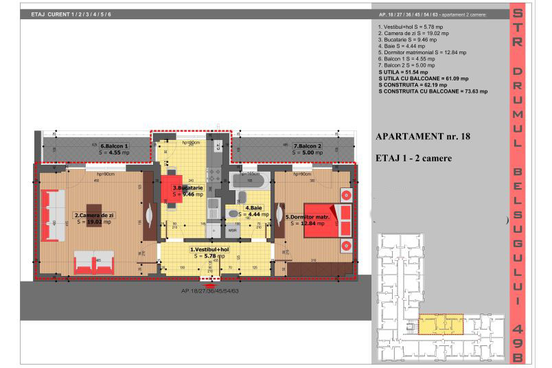Apartamente 2 camere, 52 mp, Tip 6, Militari Belsugului Residence
