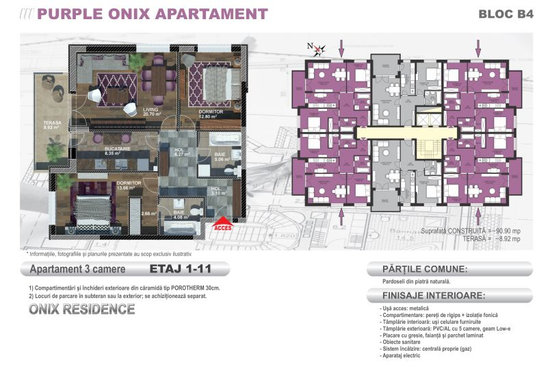 Apartamente 3 camere, Model Purple, Onix Residence