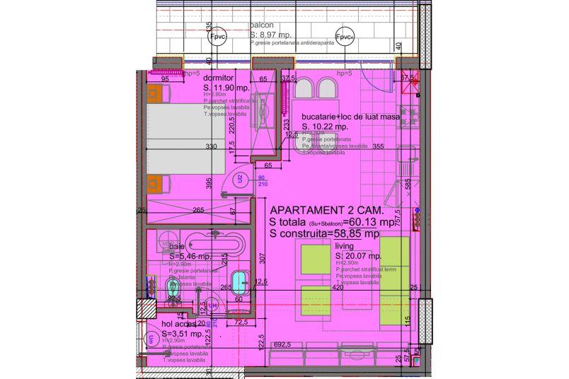 Apartamente 2 camere, 60 mp, Tip 2, Eliezer Residence