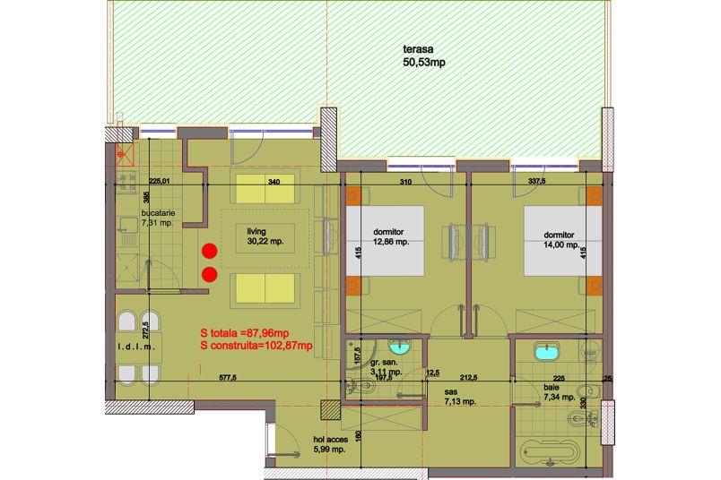 Apartamente 3 camere, 88 mp, Eliezer Residence