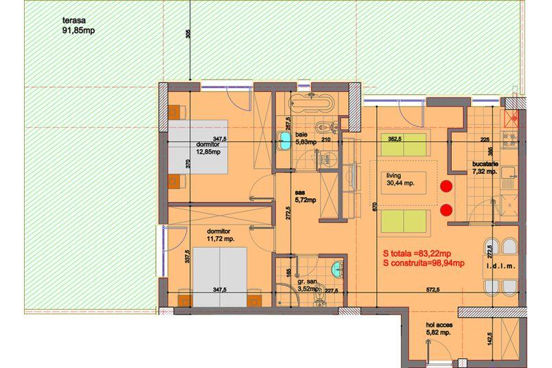 Apartamente 3 camere, 83 mp, Eliezer Residence