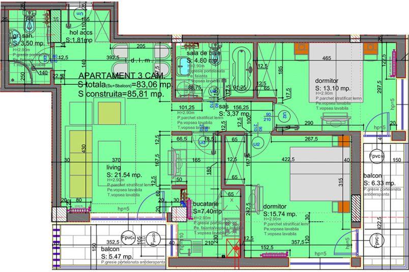 Apartamente 3 camere, 83 mp, Tip 3, Eliezer Residence