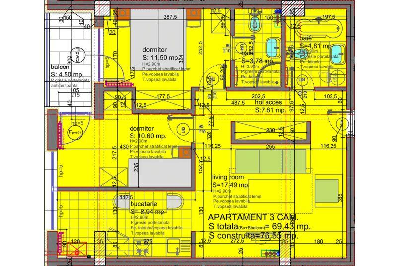 Apartamente 3 camere, 69 mp, Eliezer Residence