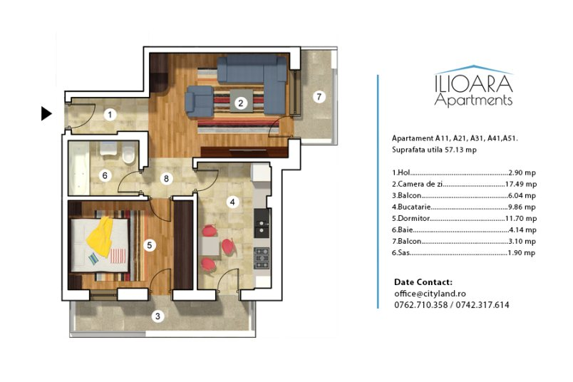 Apartamente 2 camere, Tip 1, Ilioara Apartments