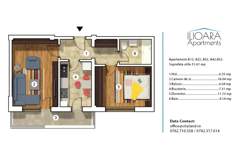 Apartamente 2 camere, Tip 2, Ilioara Apartments
