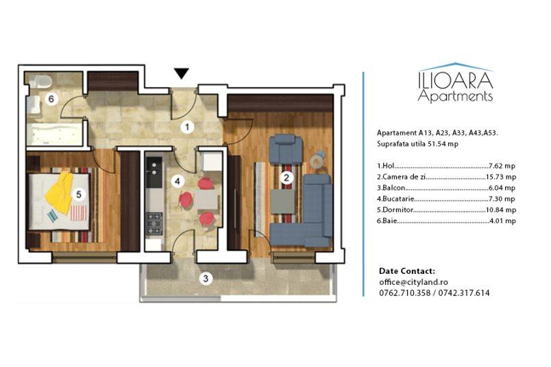 Apartamente 2 camere, Tip 3, Ilioara Apartments