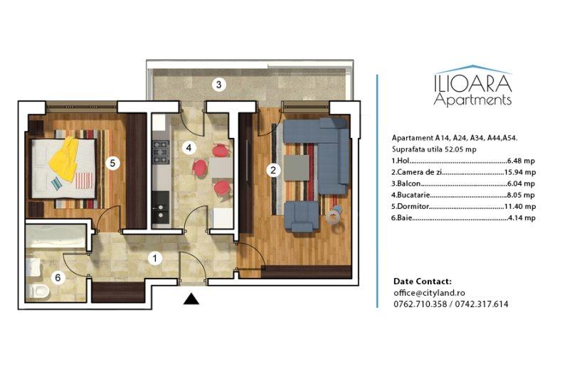Apartamente 2 camere, Tip 4, Ilioara Apartments