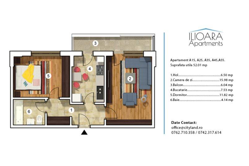 Apartamente 2 camere, Tip 5, Ilioara Apartments