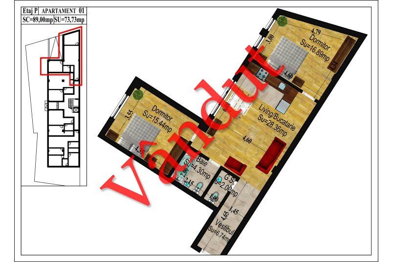 Apartamente 2 camere, 58 mp, Traian Central Apartments