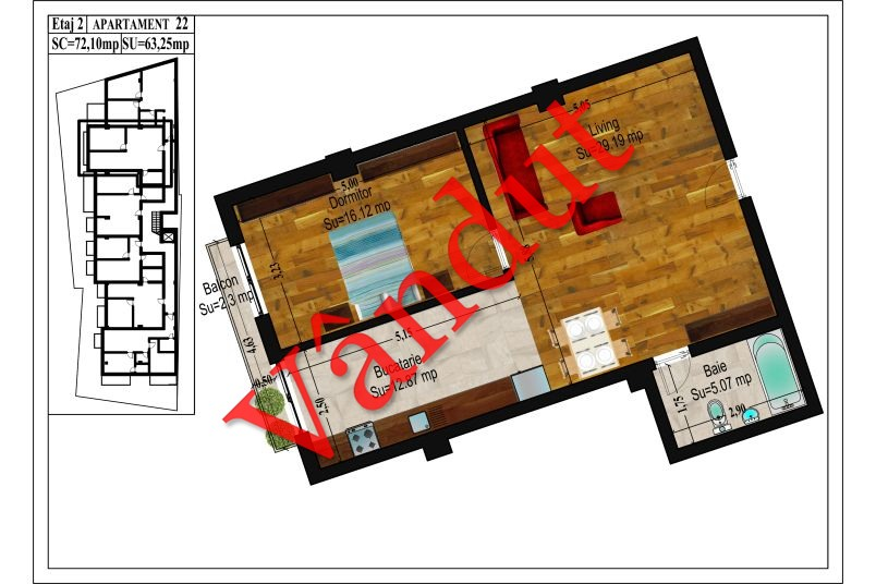 Apartamente 2 camere, 63 mp, Traian Central Apartments