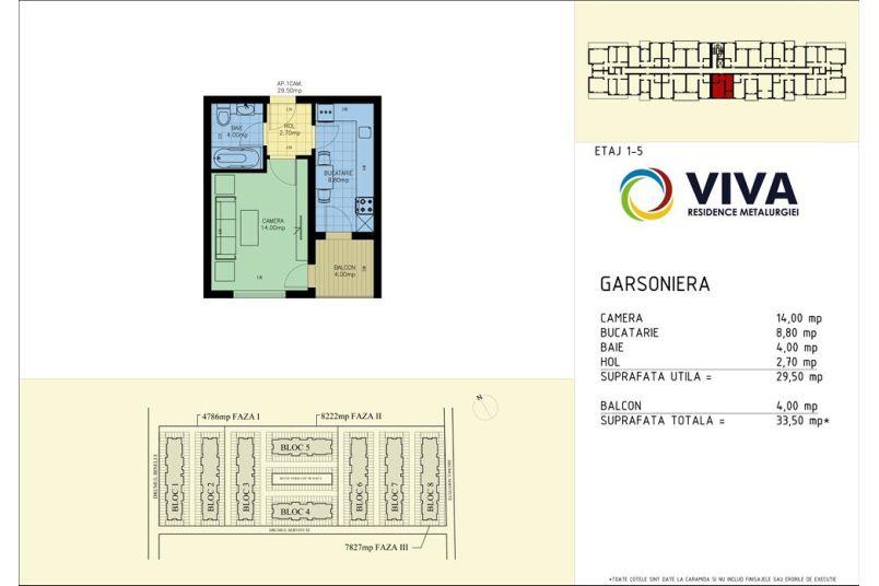 Garsoniere, 30 mp, Viva Residence Metalurgiei