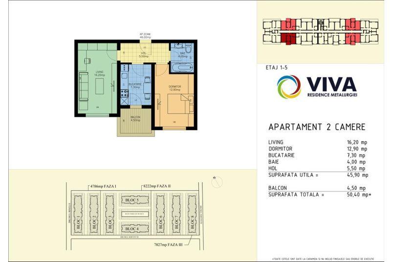 Apartamente 2 camere, 46 mp, Viva Residence Metalurgiei
