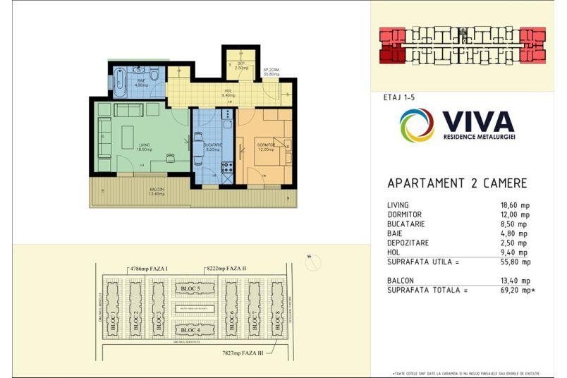 Apartamente 2 camere, 56 mp, Viva Residence Metalurgiei