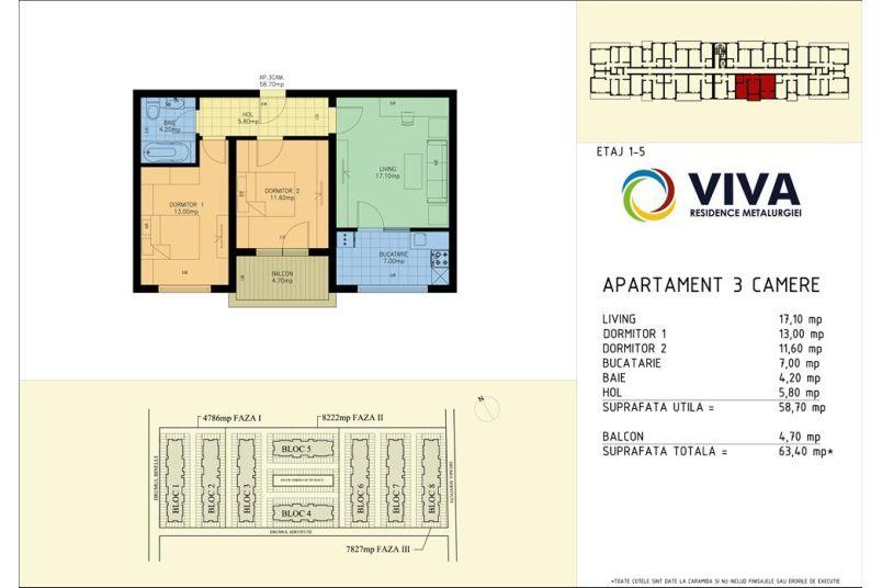 Apartamente 3 camere, 59 mp, Viva Residence Metalurgiei