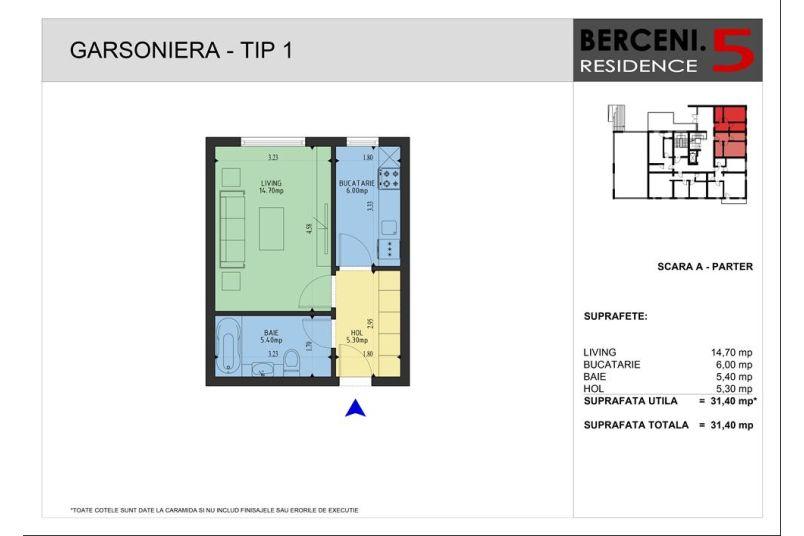 Garsoniere, 31 mp, Berceni 5 Residence