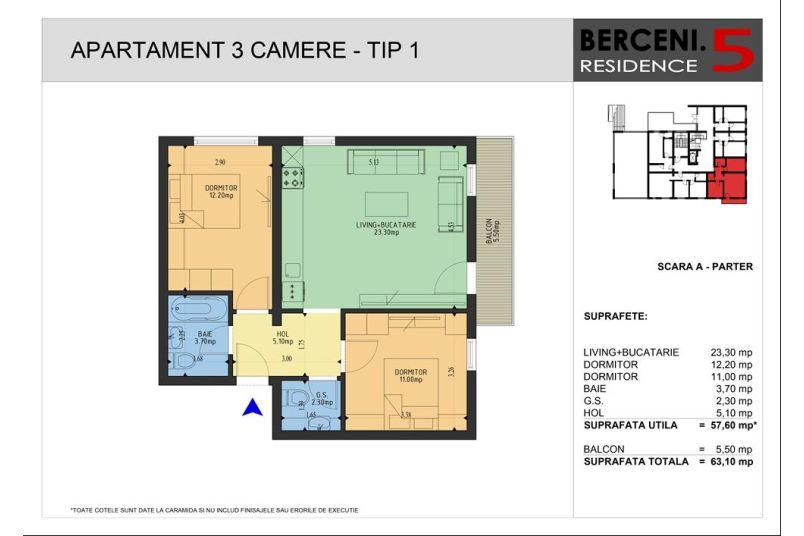 Apartamente 3 camere, 58 mp, Berceni 5 Residence