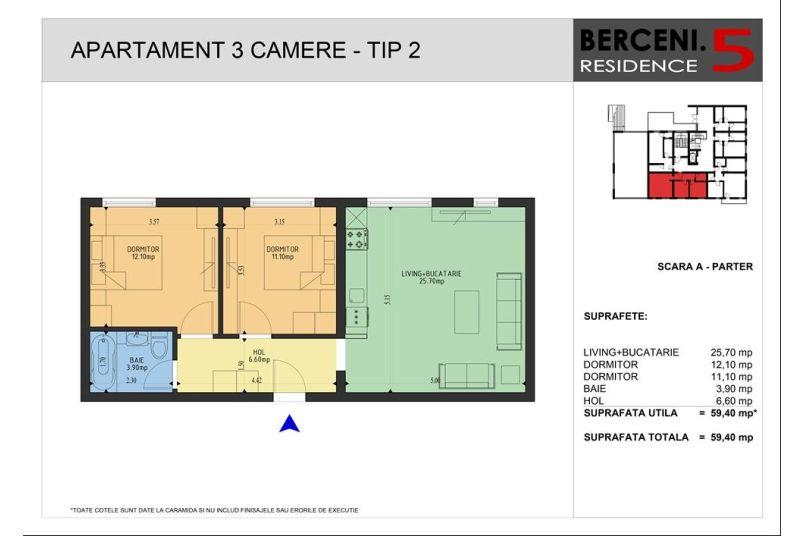 Apartamente 3 camere, 59 mp, Berceni 5 Residence