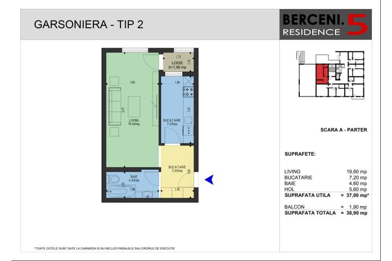 Garsoniere, 37 mp, Berceni 5 Residence