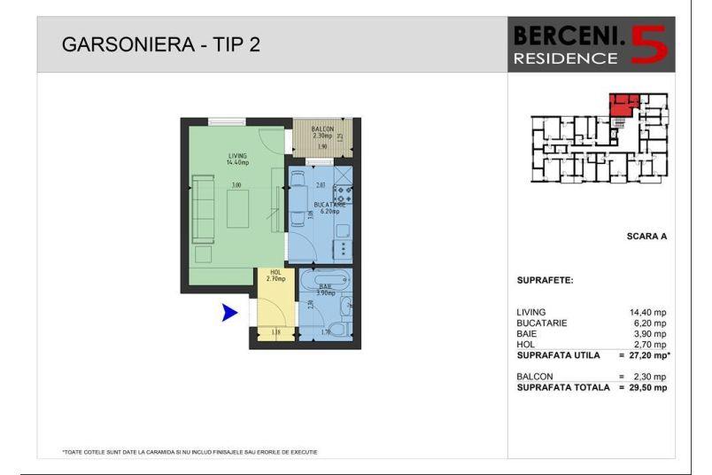 Garsoniere, 27 mp, Berceni 5 Residence