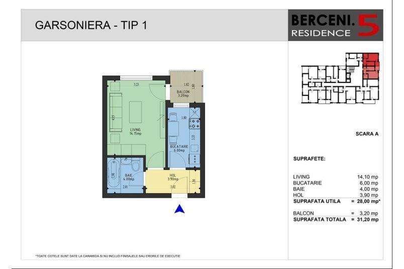 Garsoniere, 28 mp, Berceni 5 Residence