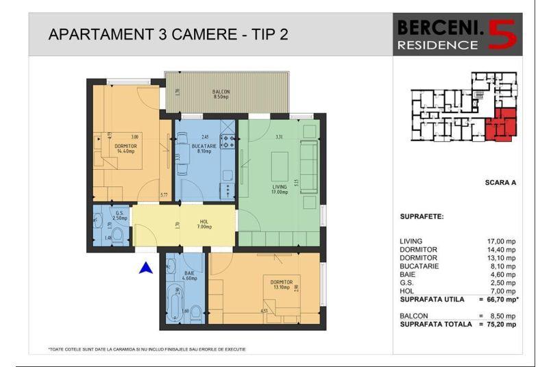 Apartamente 3 camere, 67 mp, Berceni 5 Residence