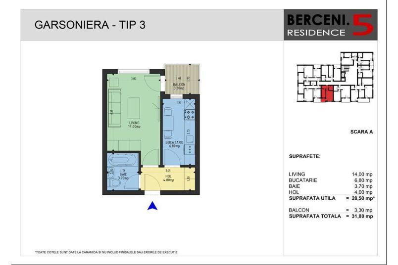 Garsoniere, 29 mp, Berceni 5 Residence