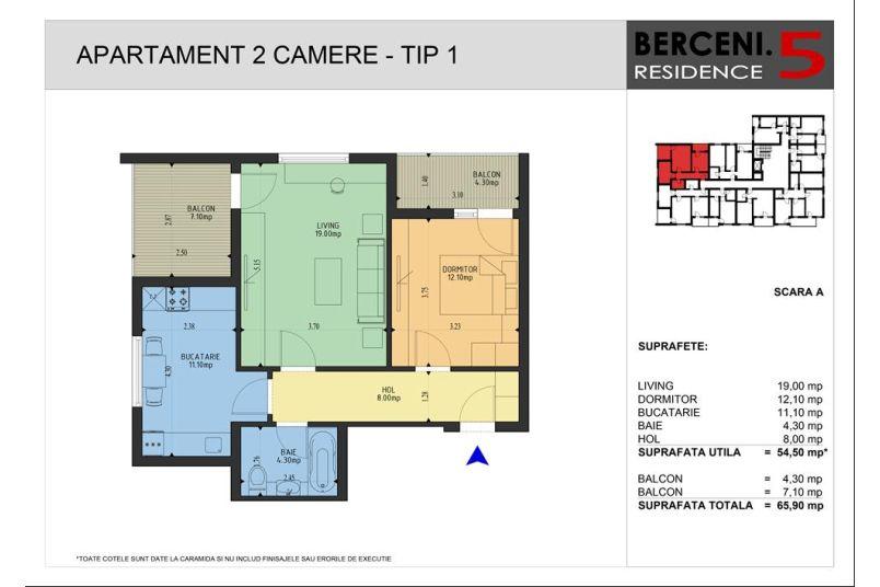 Apartamente 2 camere, 55 mp, Berceni 5 Residence