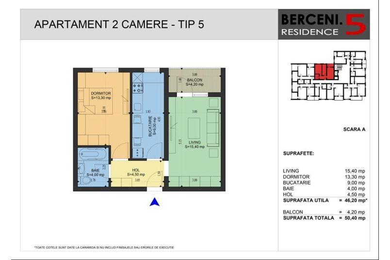 Apartamente 2 camere, 46 mp, Berceni 5 Residence