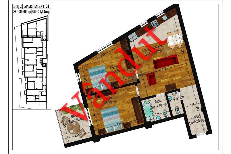 Apartamente 3 camere, 71 mp, Traian Central Apartments
