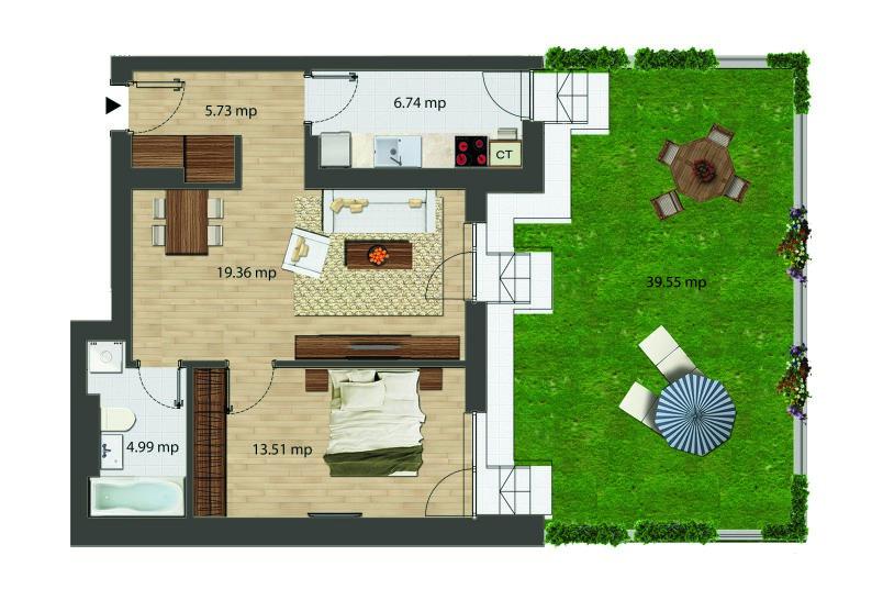 Apartamente 2 camere cu gradina, Tip 2, Bloc I, City Point