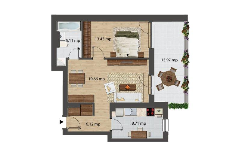 Apartamente 2 camere, Tip 2, Bloc I, City Point