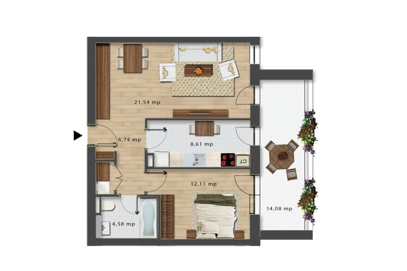Apartamente 2 camere, Tip 2, Bloc J, City Point