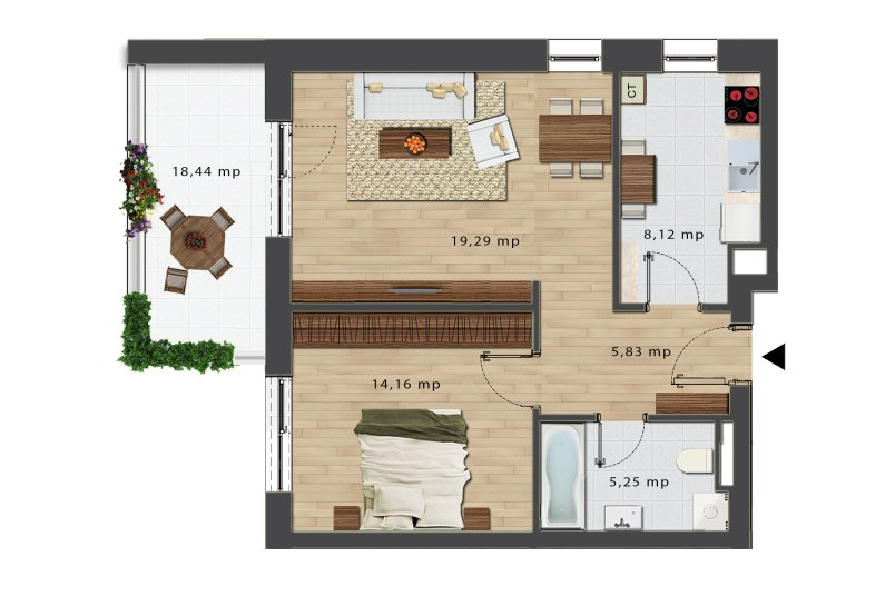 Apartamente 2 camere, Tip 4, Bloc J, City Point
