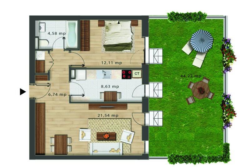 Apartamente 2 camere cu gradina, Tip 1, Bloc J, City Point