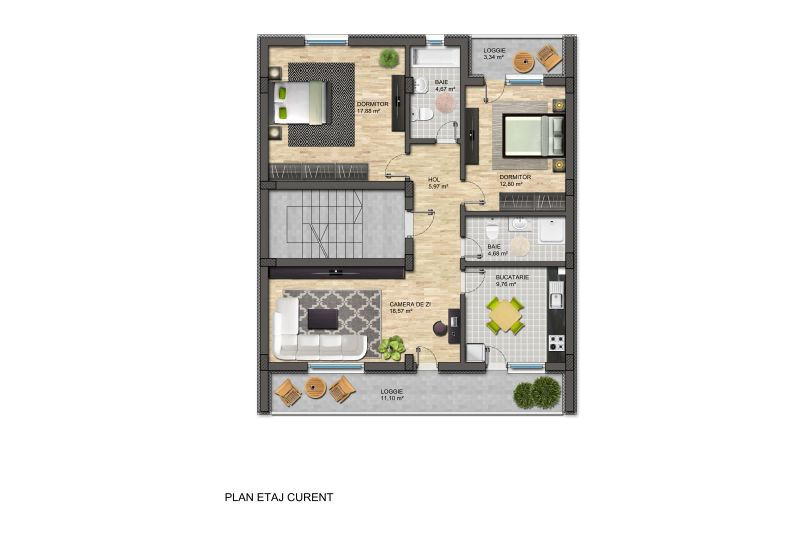 Apartamente 3 camere, 90 mp, Loft Residence