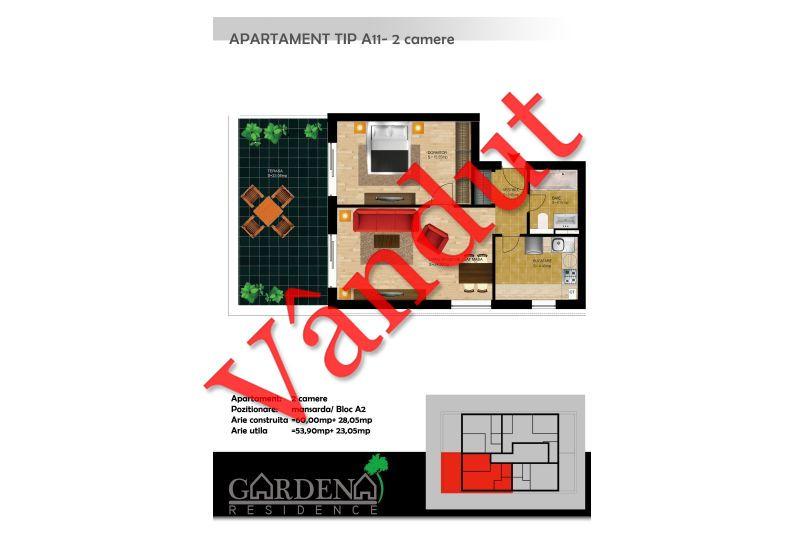 Apartamente 2 camere, Tip A 11, Gardena Residence