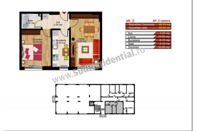 Apartamente 2 camere, 40 mp, Kristal Residence Berceni