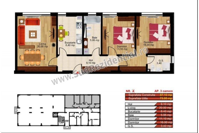 Apartamente 3 camere, 74 mp, Kristal Residence Berceni