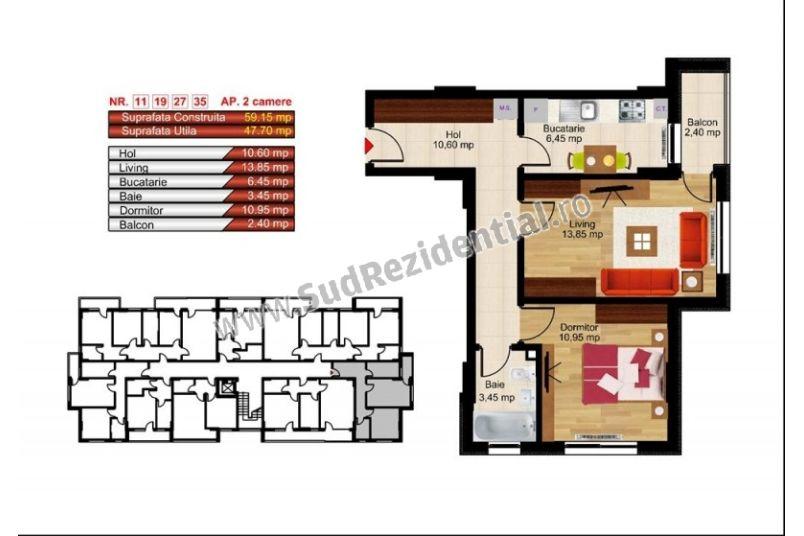 Apartamente 2 camere, 48 mp, Kristal Residence Berceni