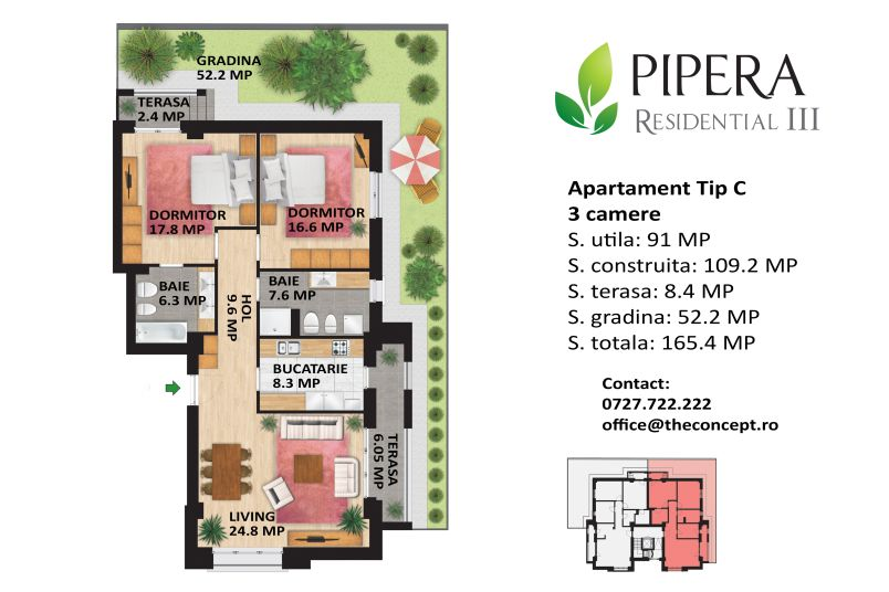 Apartamente 3 camere, Tip C, Pipera Rezidential III