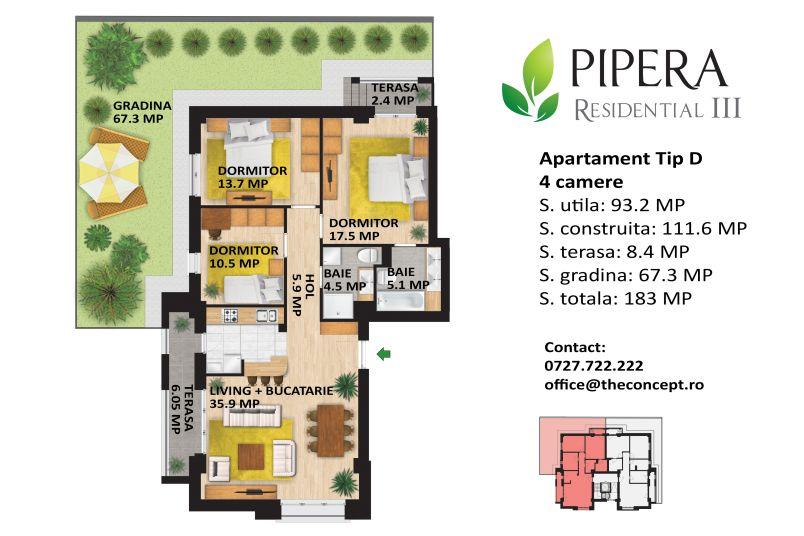 Apartamente 4 camere, Tip D, Pipera Rezidential III