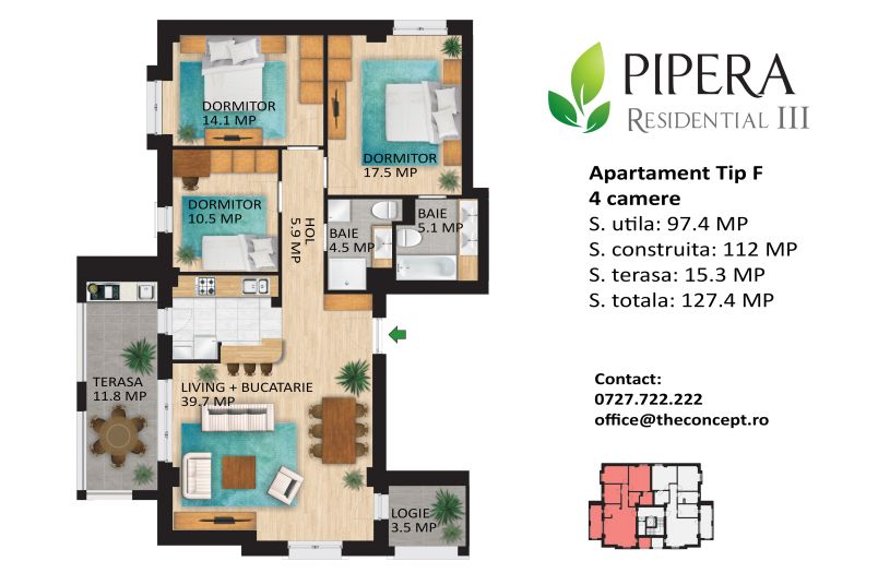 Apartamente 4 camere, Tip F, Pipera Rezidential III